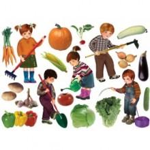 גזירות ללוח- דמויות של ילדים עובדים בגינה + ירקות