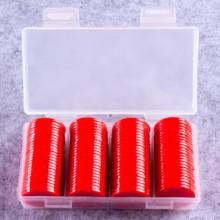 """100 דסקיות קוטר 2.5 ס""""מ צבע אדום בקופסה"""