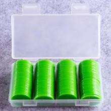 """100 דסקיות קוטר 2.5 ס""""מ צבע ירוק בקופסה"""