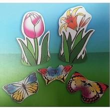 יצירה אחת שלושת הפרפרים תלת מימד עם גזירות