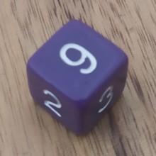 קוביית מספרים 1-6 סגול