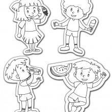 סט של 4 דמויות ילדים שונות לצביעה