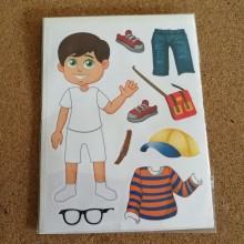 חבילת מדבקות הלבשת ילד