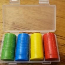 """100 דסקיות קוטר 2.5 ס""""מ צבעוניים בקופסה"""