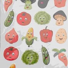 חבילת מדבקות ירקות קומיקס